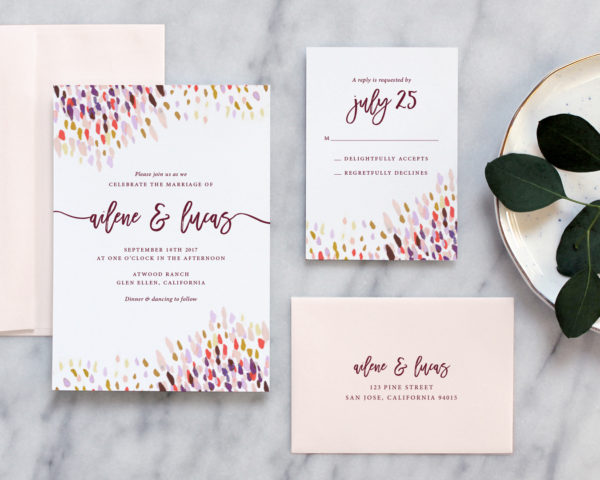 Abstract Dot Wedding Invitations Plum Coral Fine Day Press