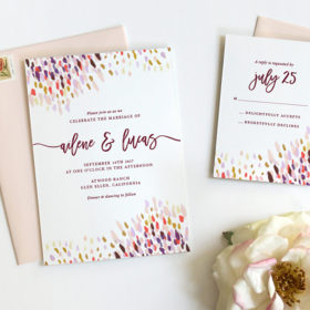 Rustic Boho Watercolor Wedding Invitations