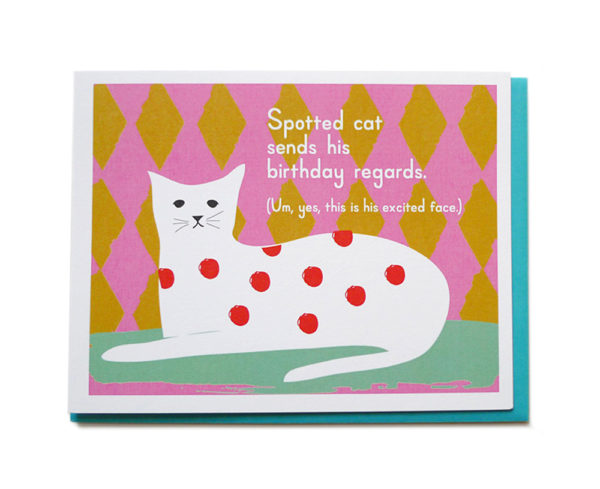Birthday Greetings Card Spotted Cat