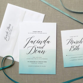 Ombre Watercolor Wedding Invitation Suite