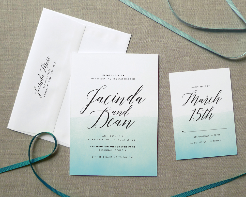 Ombre Watercolor Wedding Invitation Suite