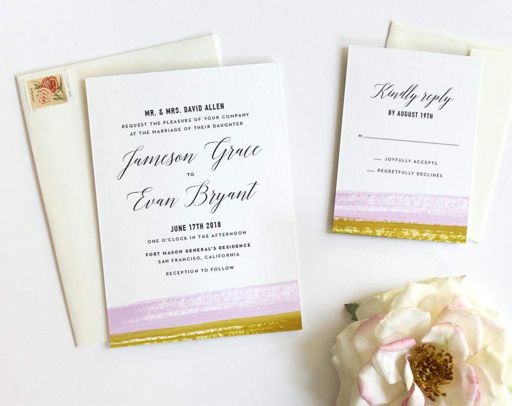 Brushstroke Wedding Invitation: Lavender / Ochre - Fine Day Press