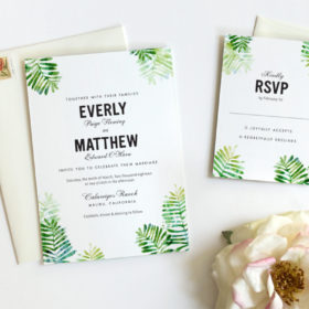 Botanical Wedding Invitation with watercolor fern design in shades of green.