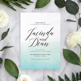 Modern wedding invitation with ombre watercolor and bold calligraphy