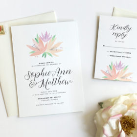 Botanical Watercolor Wedding Invitations by Fine Day Press, Austin, Texas