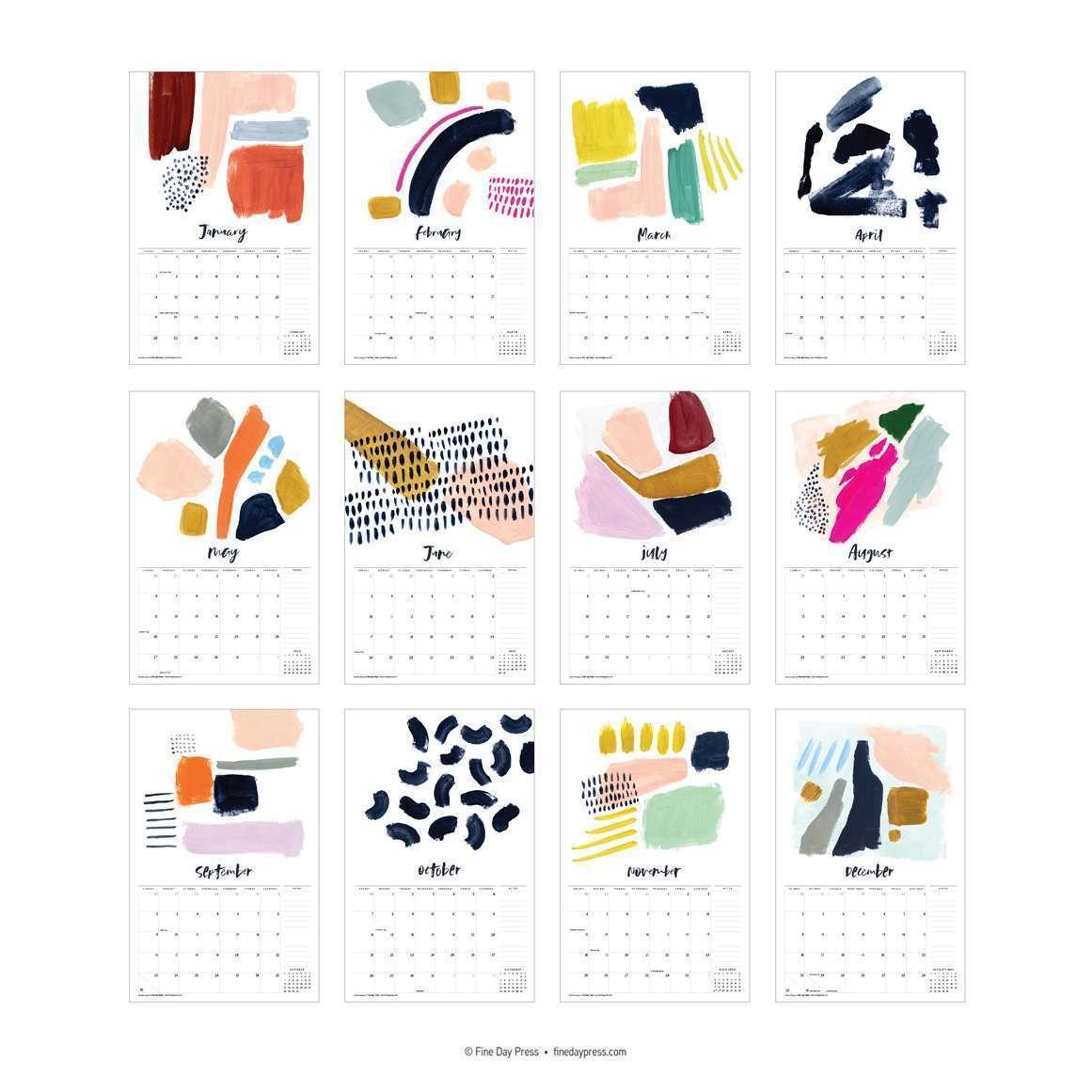 Calendar Abstract Art : Abstract art wall calendar fine day press