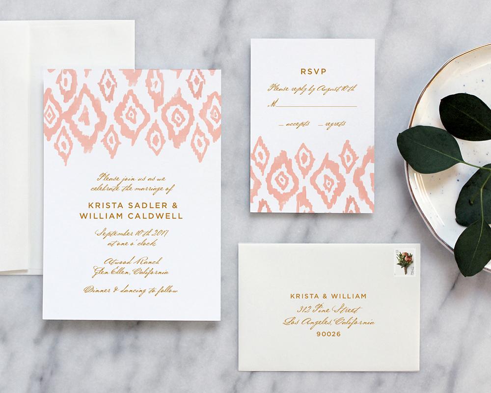 Ikat Watercolor Wedding Invitations - Fine Day Press