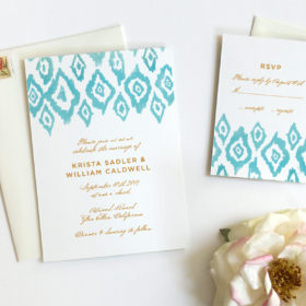 Watercolor Wedding Invitation with Boho Ikat Pattern