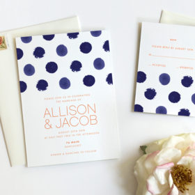 Modern Wedding Invitations by Fine Day Press, Polka Dot Watercolor