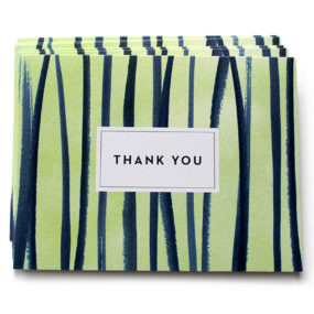 thank you card, watercolor stripes