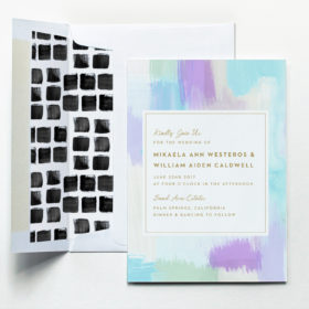 Abstract Invitation Suite in Sky with Mosaic Liner