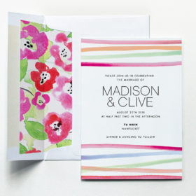 Watercolor Wedding Invitation by Fine Day Press Austin TX