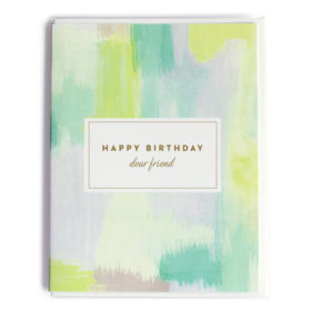 Happy Birthday Card, Abstract Green