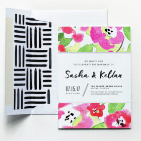 Floral Watercolor Wedding Invitation by Fine Day Press