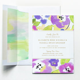 Splashy Floral Invitation in Violet with Abstract Liner