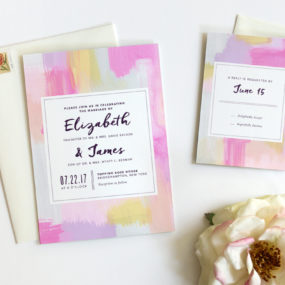 Abstract Watercolor Wedding Invitation by Fine Day Press in Rose