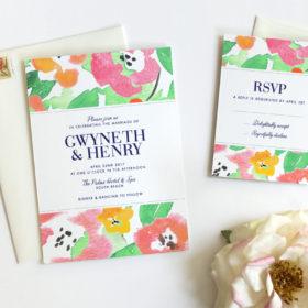 Floral Wedding Invitation by Fine Day Press Austin