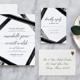 Watercolor Wedding Invitations with black and white details