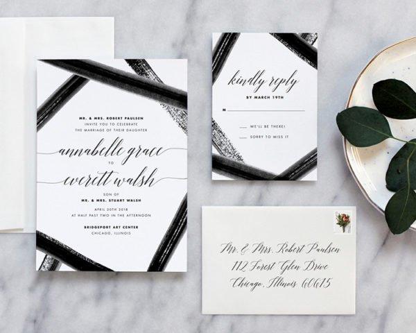 Black Tie Watercolor Wedding Invitations Fine Day Press