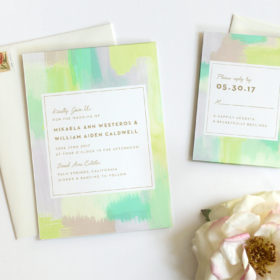 Modern Watercolor Wedding Invitations by Fine Day Press, Austin, Texas