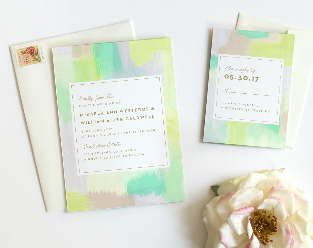 from 16500 select options modern watercolor wedding invitations by fine day press austin texas - Wedding Invitations Austin Tx