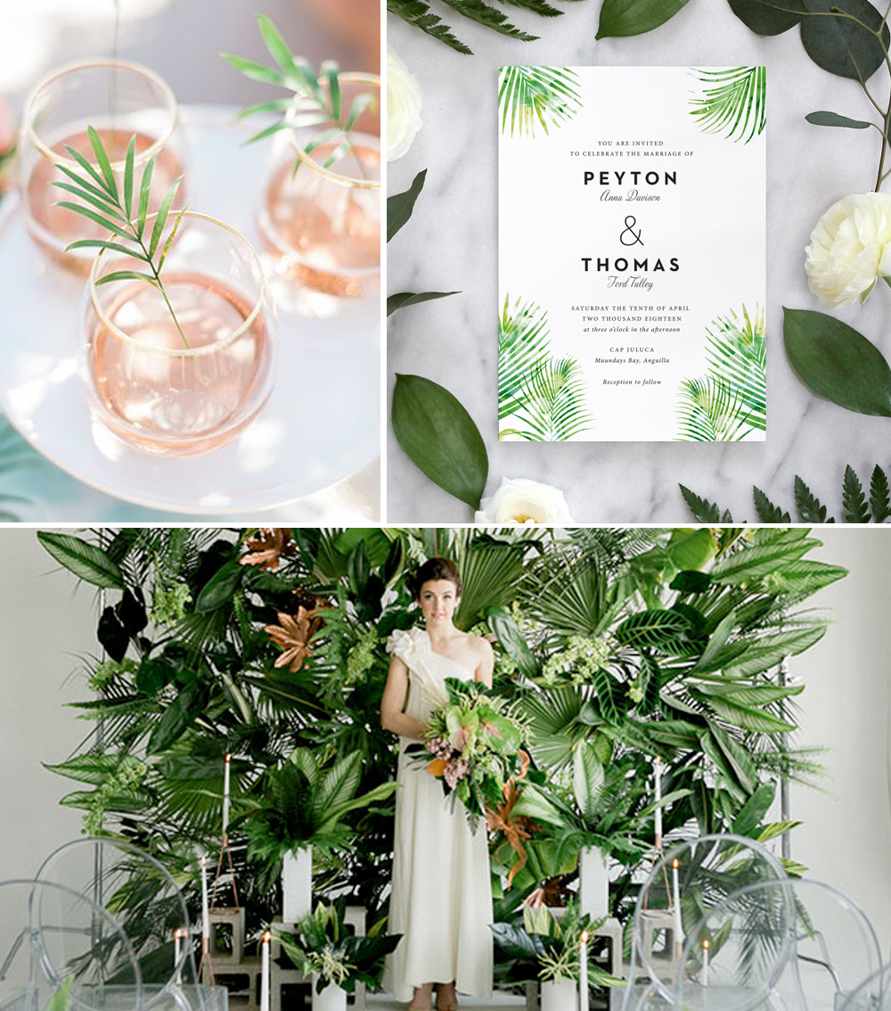 Palm Leaves Invitation Tropical Wedding Inspiration