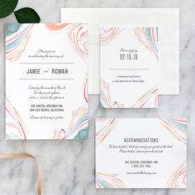 Marble Watercolor Wedding Invitations by Fine Day Press, Austin, Texas