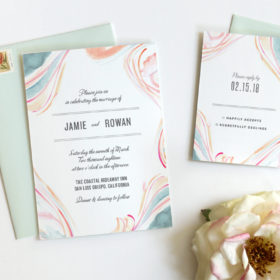 Boho Beach Wedding Invitations by Fine Day Press, Austin, Texas