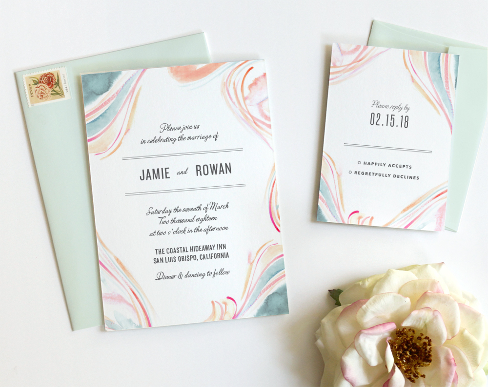 Marble Watercolor Wedding Invitations: Pastel - Fine Day Press