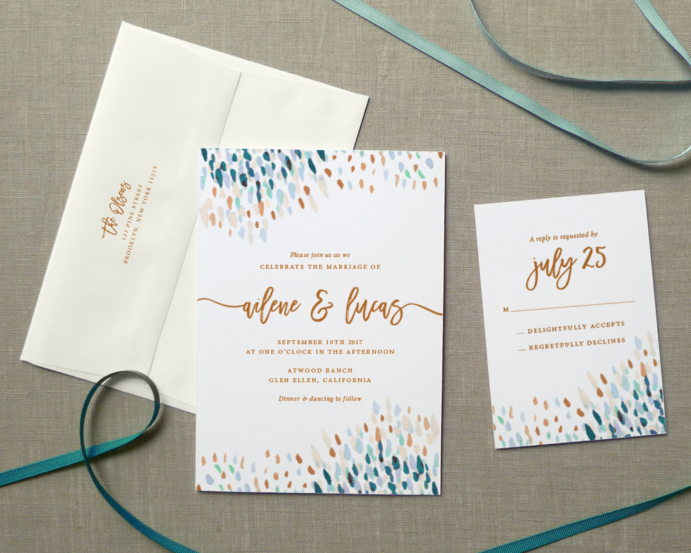 Wedding Invitations Shops: Abstract Dot Wedding Invitations: Peacock