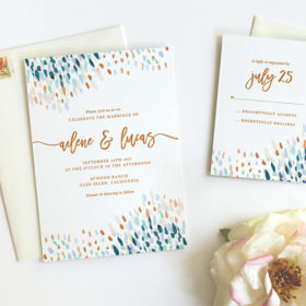 Modern Boho Watercolor Wedding Invitations