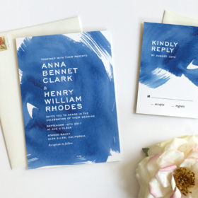Indigo Watercolor Wedding Invitations by Fine Day Press, Austin, Texas