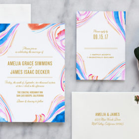 Marble Watercolor Wedding Invitations by Fine Day Press, Austin