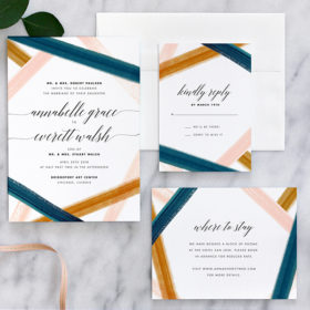 Modern Rustic Watercolor Wedding Invitations