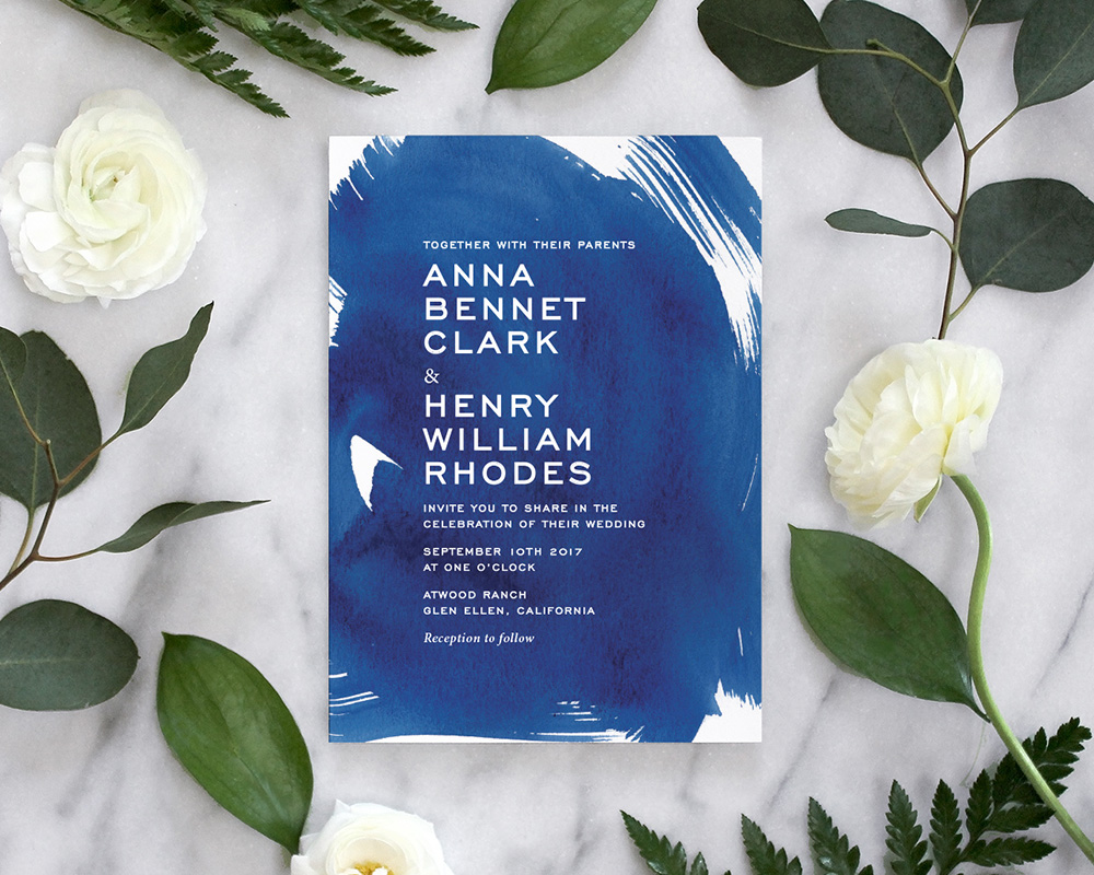 Indigo Blue Watercolor Wedding Invitations - Fine Day Press