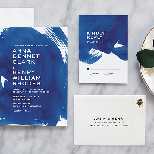 When Do You Send Out Wedding Invitations: Indigo Blue Watercolor Wedding Invitations