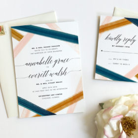 Rustic Watercolor Wedding Invitations by Fine Day Press, Austin, Texas