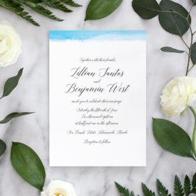 Calligraphy Wedding Invites with Watercolor Dipped Edge