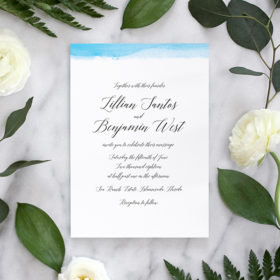 Calligraphy Wedding Invitation Suite with Watercolor Dipped Edge