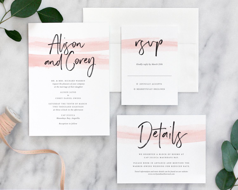 Color Wash Modern Wedding Invitations - Fine Day Press