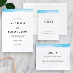 Modern Wedding Invitation with Watercolor Dipped Edge in Aqua Blue