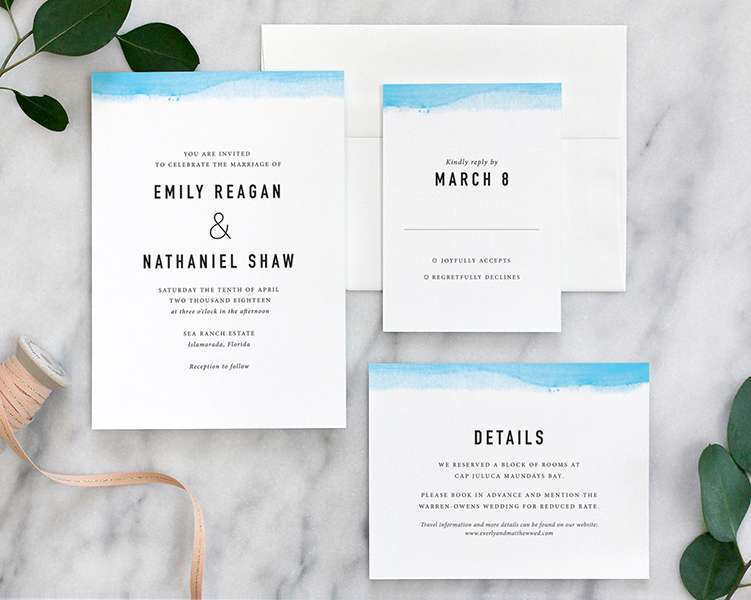 modern wedding invitation with watercolor dipped edge in aqua blue - Modern Wedding Invitation