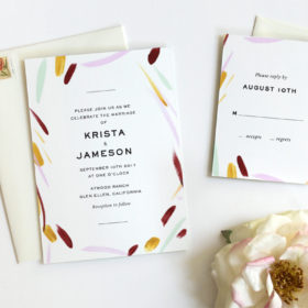 Modern wedding invitation with hand painted details and clean, chic typography