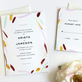 Modern Wedding invitation with Watercolor details by Fine Day Press