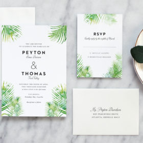 Tropical Wedding Invitation featuring Watercolor Palm Leaves