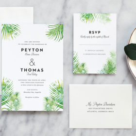 Tropical Palm Leaves Wedding Invitation