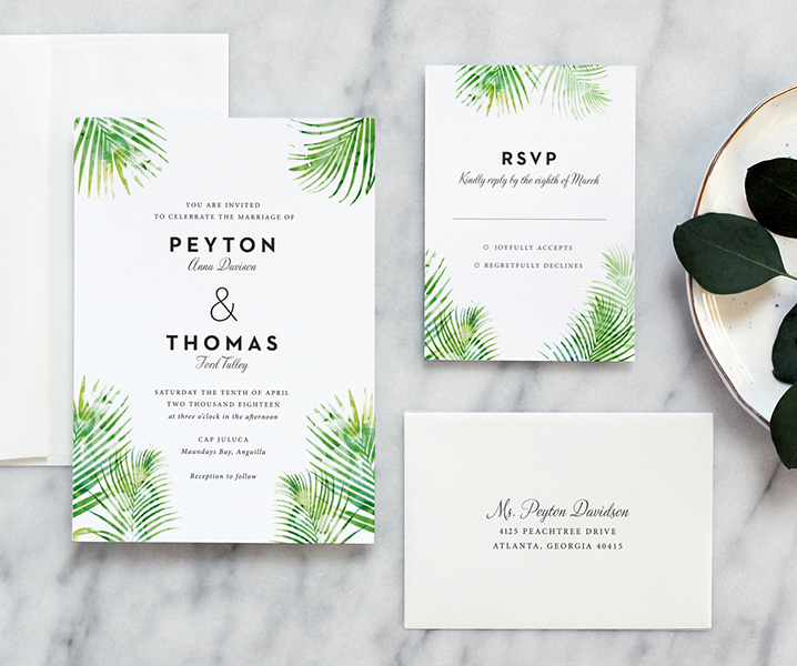 palm leaves wedding invitation fine day press