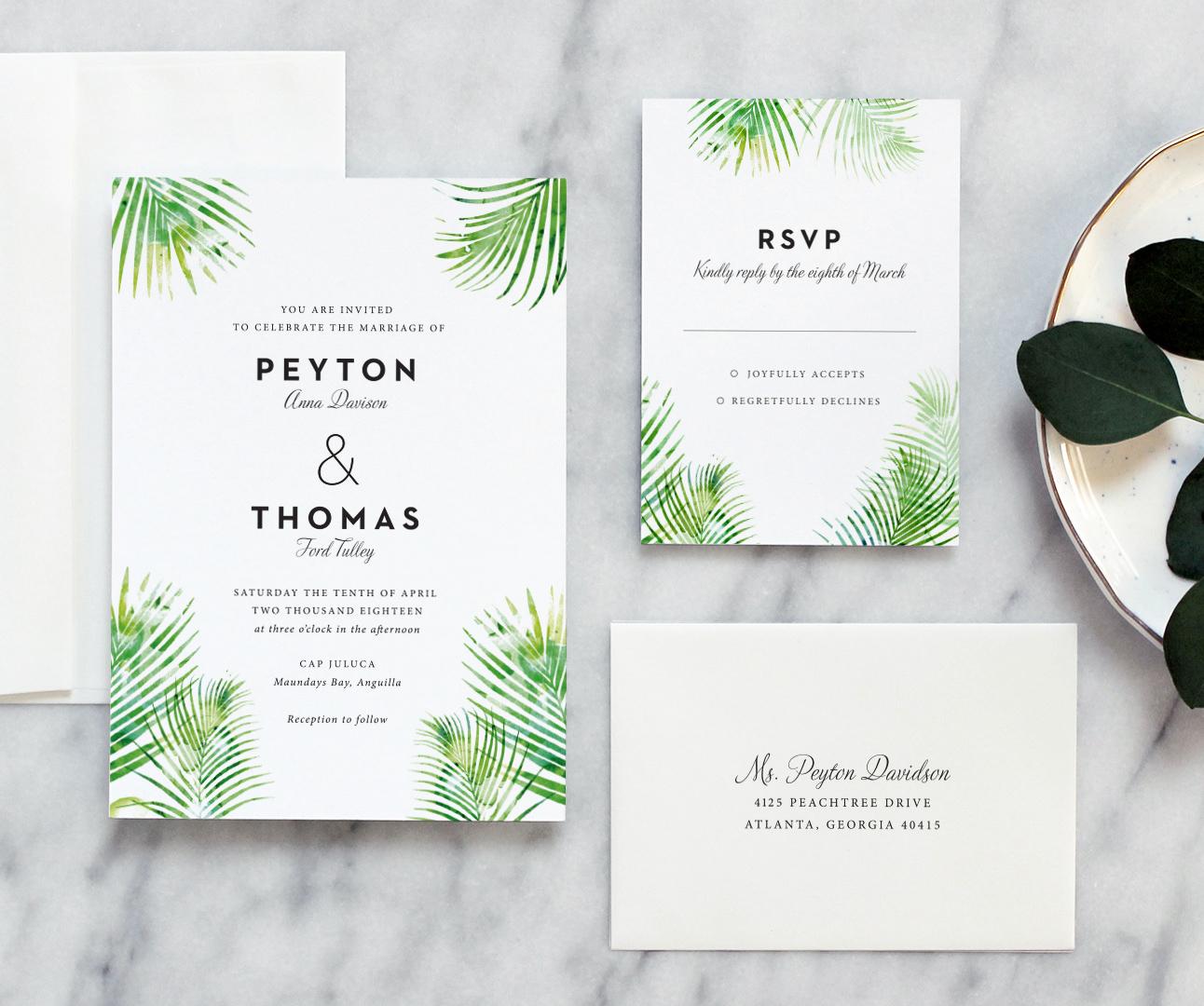 Tropical Wedding Invitations: Palm Leaves Wedding Invitation