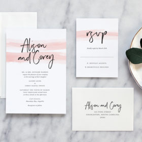 Modern romantic wedding invitations by Fine Day Press, Austin, Texas