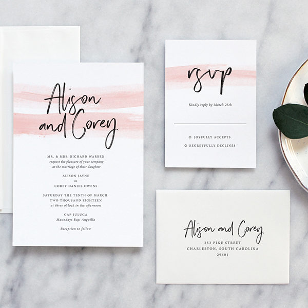 modern romantic wedding invitations by fine day press austin texas - Modern Wedding Invitations